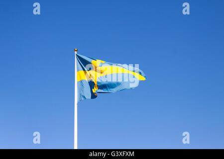 Flagpole with Swedish flag - Stock Image
