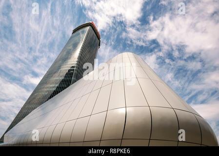 Horizontal view of the Torre Generali in Milan, Italy. - Stock Image