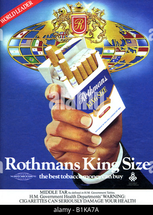 1980 advertisement for Rothman's King Size Cigarettes FOR EDITORIAL USE ONLY - Stock Image