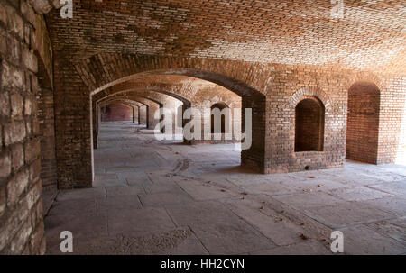 Rows of Brick Arches within the wall of Fort Jefferson-Dry Tortugas National Park, Florida - Stock Image