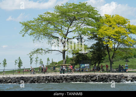 Governors Island in New York harbor is open to the public from May to October. Part of the island is historic and is run by the National Park Service. - Stock Image