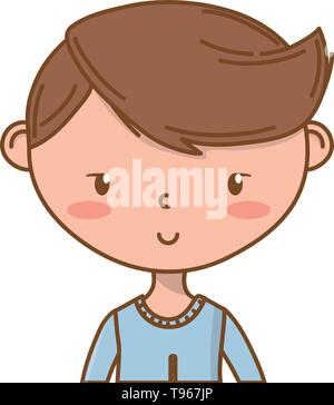 Stylish boy blushing cartoon outfit sweater smile portrait  isolated vector illustration graphic design - Stock Image