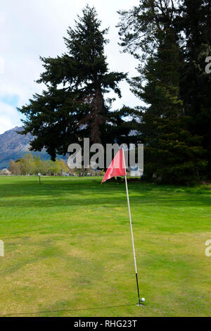 Golf green in Glenorchy, South Island, New Zealand - Stock Image