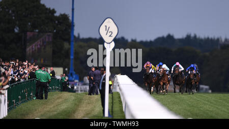 Ascot Racecourse, Windsor, UK. 21st June, 2019. Royal Ascot Horse racing; Race 4; Coronation Stakes; runners in the race are cheered on by the crowd Credit: Action Plus Sports/Alamy Live News - Stock Image