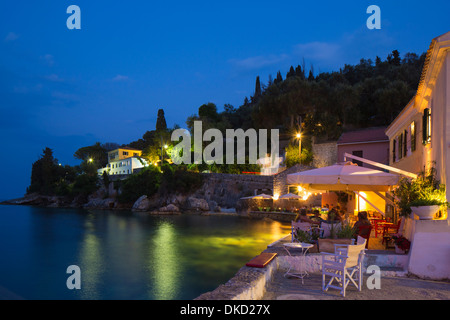 A Taverna in the small fishing village of Loggos on Paxos. - Stock Image
