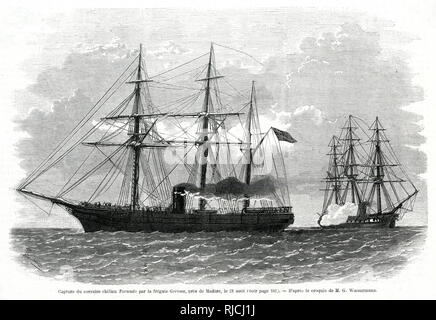 The capture of the Chilean ship Tornado by the frigate Gerona, near Madeira, on 21st August 1866. The Tornado having been bought by Chile from Britain, is flying a British flag as it tries to outrun the Spanish frigate behind them, firing cannons to call the ships attention to halt. - Stock Image