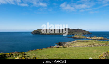 RS 8073  Calf of Man & The Sound, Isle of Man, UK - Stock Image