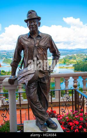 Statue of Luis Eduardo Villegas, Guatape - Stock Image