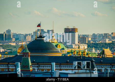 MOSCOW, AUGUST 8, 2018: Dome of Kremlin's Senate building with the Standard of the President of the Russian Federation at summer sunset. Headquarters  - Stock Image