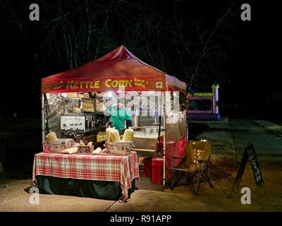 Kettle Corn fair food stand or snack booth selling kettle popcorn in Callaway Gardens, Pine Mountain Georgia, USA. - Stock Image