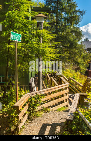 Sept. 17, 2018 - Ketchikan, Alaska: Signpost at top of Married Man's Trail, a path leading to the historic red-light district along Ketchikan Creek. - Stock Image