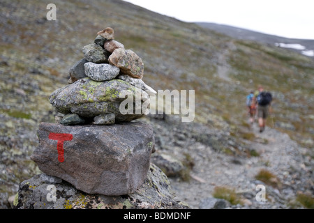 Cairn, signpost, marker, sign - Stock Image