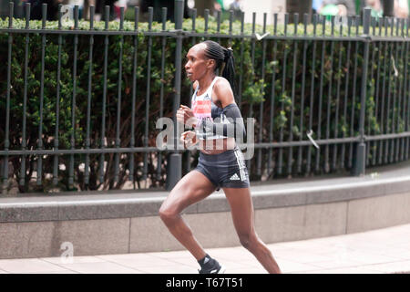 Gladys Cherono running for Kenya in the Women's Elite 2019 London Marathon. Gladys went on to finish 4th in  a time of  02:20:52 - Stock Image