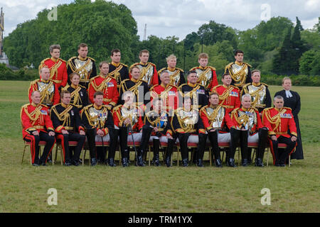London, England - June 8, 2019:  Her Royal Highness The Princess Royal, Colonel of The Blues and Royals  and Officers of the Household Cavalry Mounted - Stock Image