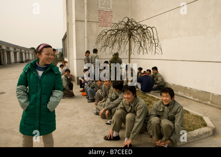 workers having lunch brake shanghai china - Stock Image