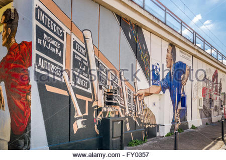 Graffiti - street art in Grenoble (France), under the 'Estacade' railway bridge - Stock Image