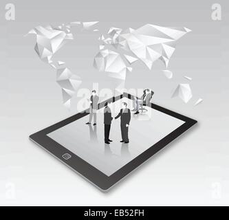 Businessmen standing on tablet with map - Stock Image