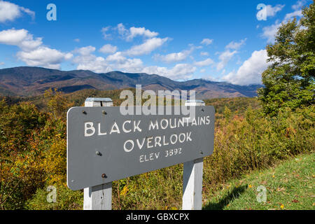 Black Mountains overlook in the fall Blue Ridge Parkway, NC - Stock Image