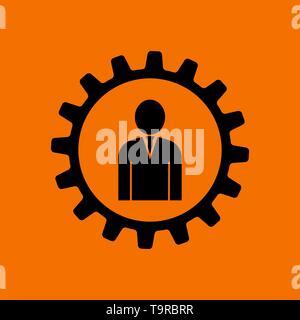 Teamwork Icon. Black on Orange Background. Vector Illustration. - Stock Image