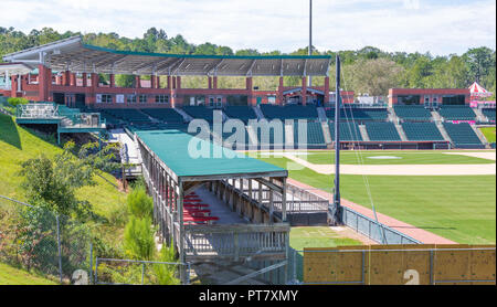 HICKORY, NORTH CAROLINA, USA- The Winkler Baseball Stadium, home of the Hickory Crawdads minor league baseball team, showing stadium seating. - Stock Image