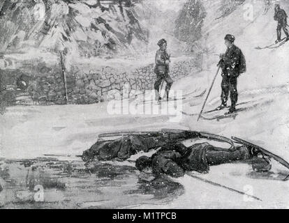 Halftone illustration of 'Ski-runners' drinking water or 'goose wine' from an unfrozen pool in Norway, - Stock Image