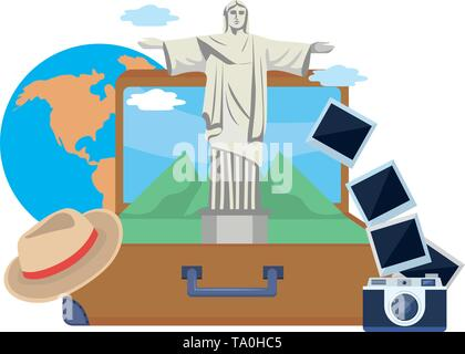 Christ redemeer landmark design, Travel trip vacation tourism journey and tourist theme Vector illustration - Stock Image