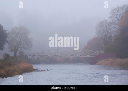 Bridge over the River Suir in early morning fog at Cahir Park, Cahir, Tipperary, Ireland - Stock Image