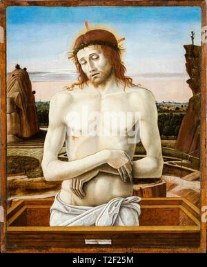 Giovanni Bellini, Dead Christ in the Sepulchre (Pietà), painting, c. 1460 - Stock Image