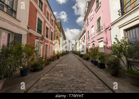 France, Paris, 12eme, 04/2019 : Rue Crémieux, a pedestrian street of one block worker's houses. - Stock Image
