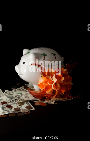 Honeymoon Piggy Bank with cash on a black background - Stock Image