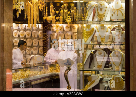 Dubai Deira gold market gold souk sheikh Dubai Gold Souk - Stock Image