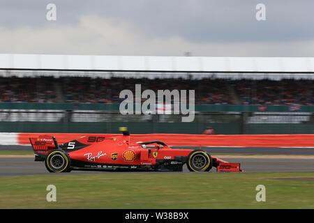 Silverstone Circuit. Northampton, UK. 13th July, 2019. FIA Formula 1 Grand Prix of Britain, Qualification Day; Scuderia Ferrari, Sebastian Vettel Credit: Action Plus Sports/Alamy Live News - Stock Image