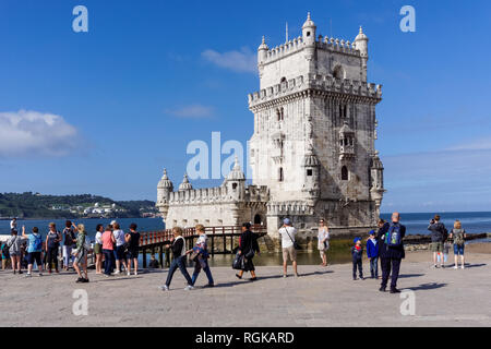 Tourists visiting Belem Tower in Lisbon, Portugal - Stock Image