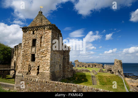 St Andrews Castle 13th Century square tower stone ruins exterier on the rocky coast of the North Sea in Fife Scotland UK - Stock Image