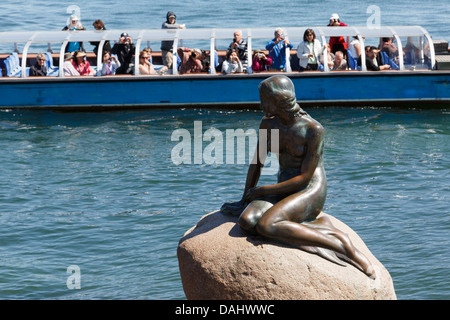 Tourists boat offshore visiting the Little Mermaid famous statue on the harbour quay in Copenhagen, Zealand, Denmark - Stock Image