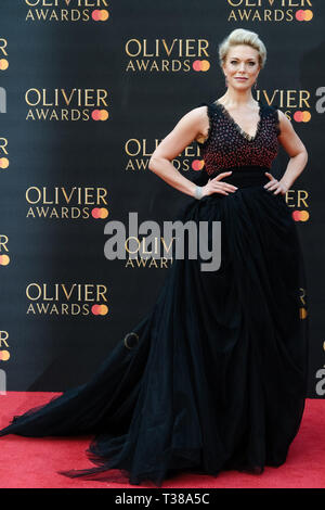 London, UK. 7th Apr 2019. Hannah Waddingham poses on the red carpet at the Olivier Awards on Sunday 7 April 2019 at Royal Albert Hall, London. Picture by Credit: Julie Edwards/Alamy Live News - Stock Image