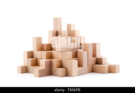 Wooden blocks isolated on white background with clipping path - Stock Image