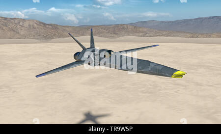 Fighter Jet, futuristic military aircraft flying over a desert with mountains in the background, close up, 3D render - Stock Image