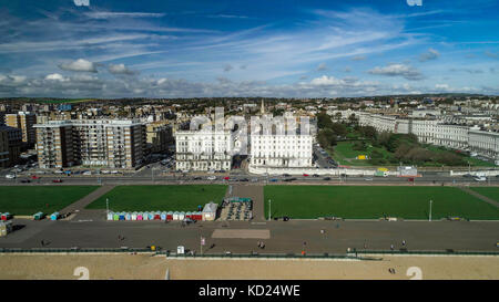 Aerial view of the regency seafront in Brighton and Hove, Southern England - Stock Image