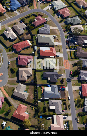 Aerial view of new housing estate west Brisbane Australia - Stock Image
