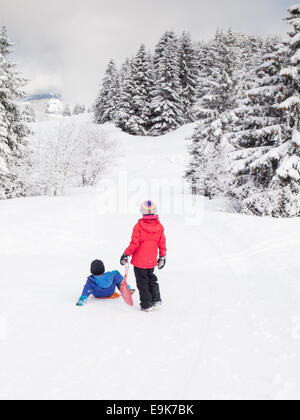 small boy and girl  snow with sledges in hand and wooded winter  mountain landscape behind - Stock Image