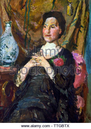 LILY GESINUS-VISSER II (LILY GESINUS VISSER II) by Oskar Kokoschka born 1886 Austria Austrian (expressionistic portraits and landscapes) - Stock Image