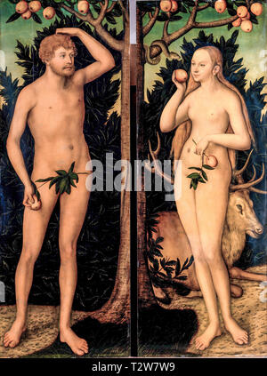 Lucas Cranach the Younger, Adam and Eve, painting, after 1537 - Stock Image