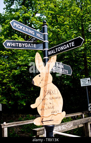 Tourist signpost, Thornton Le Dale, North Yorkshire, England - Stock Image
