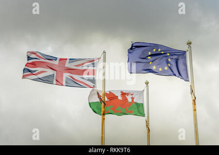 The Red Dragon flag of Wales, the European Union (EU)  Flag and the Union Jack (UK flag) - Stock Image