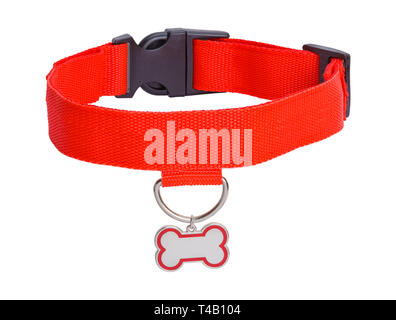 Red Collar with Dog Bone Tag Isolated on White Background. - Stock Image