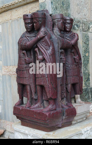 The Tetrarchs - a Porphyry Sculpture of four Roman Emperors - Stock Image