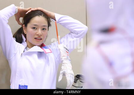 Ajinomoto National Training Center, Tokyo, Japan. 19th Apr, 2019. Ayumu Saito (JPN), APRIL 19, 2019 - Fencing : Japan National Team Training Session at Ajinomoto National Training Center, Tokyo, Japan. Credit: Naoki Nishimura/AFLO SPORT/Alamy Live News - Stock Image