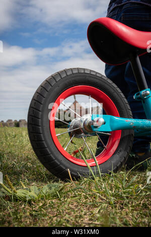 the back wheel of a child's bike on grass - Stock Image
