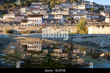 Views of the city of thousand windows a Unesco world heritage site reflecting in Osum river - Stock Image